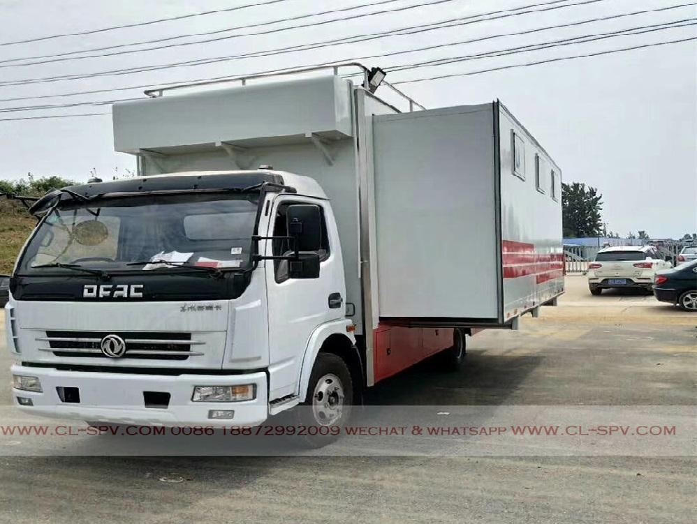 Dongfeng camión móvil de alimentos con la caja de expansión