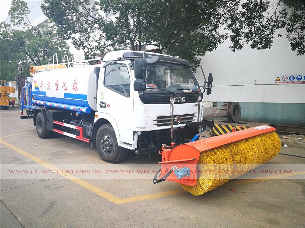 Dongfeng camión de fumigación con pesticidas con la escoba la nieve