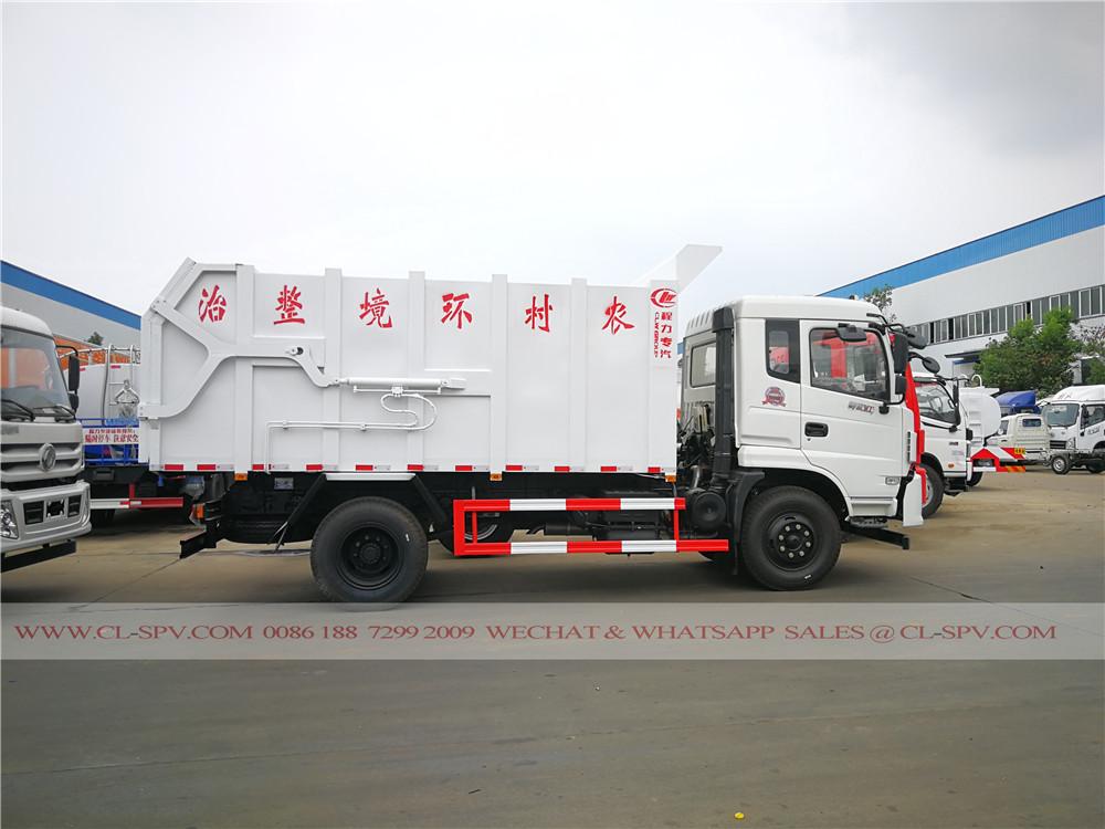 Vue panoramique sur camion à ordures dongfeng