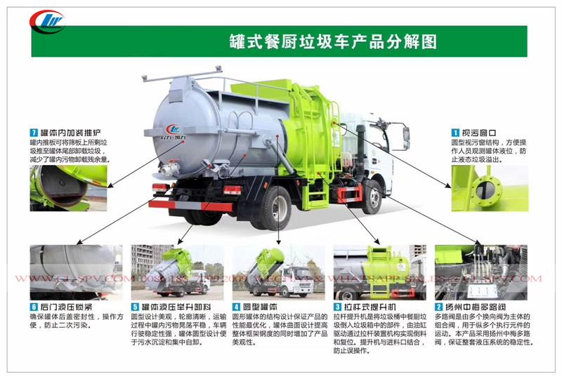 دونغفنغ دلو رفع القمامة شاحنة صهريج