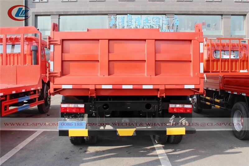 Vista trasera del camión volquete Dongfeng