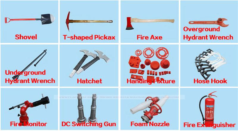 Liste des accessoires du camion de lutte contre l'incendie
