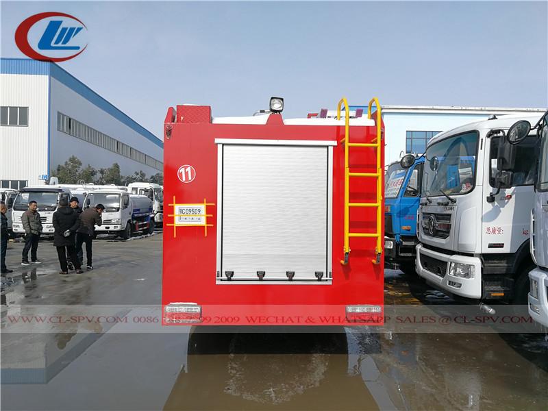Vista posterior del camión de bomberos
