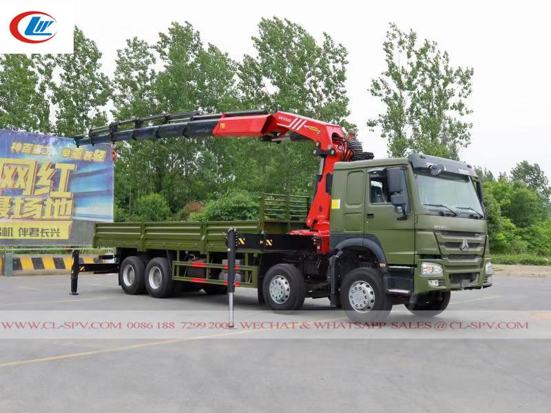 Howo 8x4 12 پہیے ٹرک کرین کے ساتھ