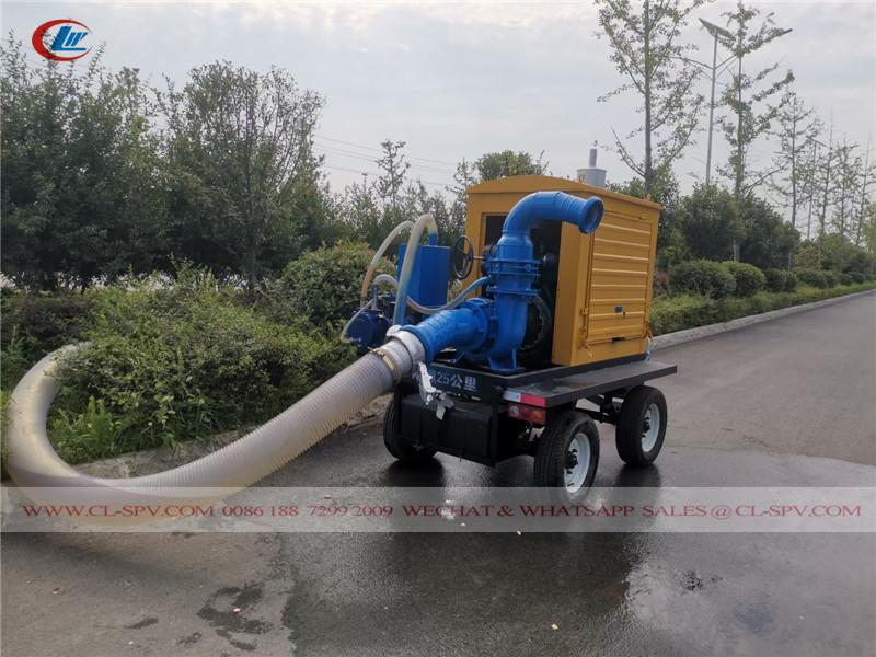 pompe de drainage d'inondation montée sur remorque