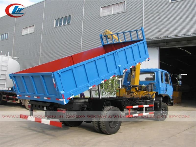 Dongfeng awd 8 toneladas de camión volquete con grúa xcmg